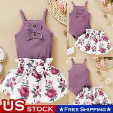 Toddler Baby Girl Solid Bow Vest Tank Shirt Tops+Floral Shorts Pants Clothes Set