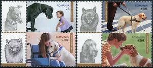 Romania 2021 MNH Dogs Stamps Dog Man's Friend Domestic Animals 4v Set + Label