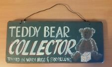 "12"" x 5"" Wooden Teddy Bear Collector Hanging Wall Sign"