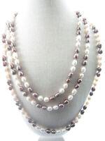collana molto lunga di perle scaramazze in 2 colori  annodate lunga chiusa 82 cm