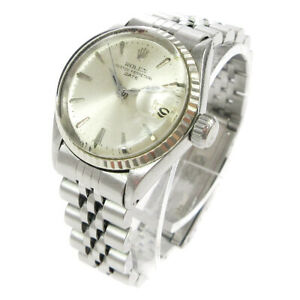 ROLEX Oyster Perpetual Date Wristwatch Watch Silver Stainless Steel 04187