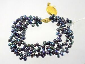 Fortunoff 14k Yellow Gold Clasp Dyed Black Pearls Three Strand Bracelet with Tag