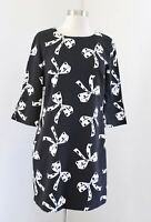 Banana Republic Black White Spotted Bow Print 3/4 Sleeve Shift Dress Size 2