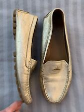 Coach Amber Gold Leather Driving Loafers Size 39.5
