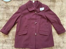 Burgundy Red Woolen & Kashmir Coat Jacket Plus Size 26 NEW