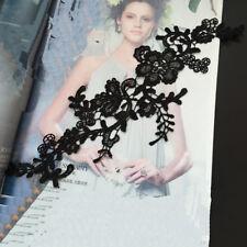 1 Pair Bridal Lace Flower Embroidery Wedding Applique Sequins Clothes DIY Craft #13 34*11cm