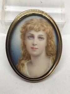 Stunning c1880 Pre-Raphaelite Portrait Miniature Painting Ernest Rinzi