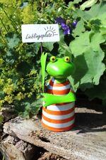 Frosch Zaunhocker bunt Fernglas Gartenfigur Gartendeko Landhausstil Spanner