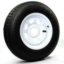 "Two Trailer Tires & Rims ST205/75D15 F78-15 205/75-15 15"" LRC 5 Lug White Spoke"