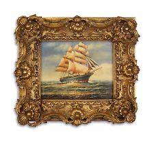 Dipinti a olio su legno nel legno/cornice di stucco resina oro Barca a vela