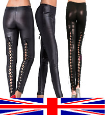 fe516efd8a657 Shiny Wet Look Leggings Tie Back Lace Up Eyelets Adult Teen Goth Punk Rock  Emo