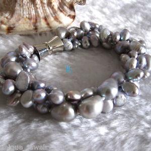 "8"" 5-9mm Silver Gray Baroque 3Row Freshwater Pearl Bracelet"