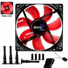 Aerocool 12CM PC Computer Case Cooling Fan Transparent Red LED Silent 120mm Kit