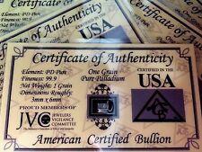 1 Grain 99.9 Pure Palladium Bullion Bar - CERTIFICATE