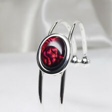 Red Paua Shell Cuff Bracelet, NZ Paua Bracelet, One Size, Silver Plated