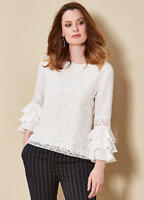 Ivory Lace Front Blouse Top with Fluted Frilled hem  3/4 Sleeves Size 12 Petite
