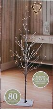 New 4 Ft Snowy Effect 80 Warm White LED Twig Halloween Christmas Tree Outdoor