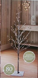 🌹New 4 Ft Snowy Effect 80 Warm White LED Twig Halloween Christmas Tree Outdoo
