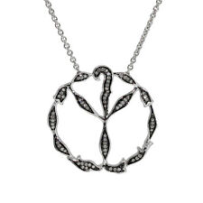 Diamond Pendant Peace Sign Necklace Sterling Silver with chain White Gold polish