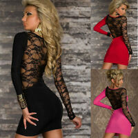Sexy Women Lady Lace Long Sleeve Bodycon Party Evening Cocktail Club Mini Dress