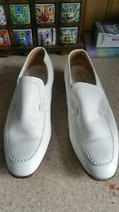 Men's Loake Bros Shoes Size 11 g white Leather Loafers Made in England