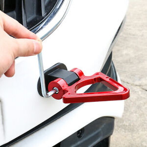 1x Red Bumper Tow Hook Triangle Track Racing Style Look Decoration Car Accessory