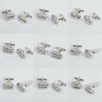 WEDDING CUFF LINKS-Best Man, Groom, Father of the Bride,Usher OVAL SILVER-BOXED