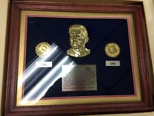 JFK John F. Kennedy Commemorative Coin Set Plaque - Emeralds, Sapphires, Rubies