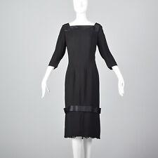 XL 1960s Howard Green 28 Shop Black Rayon Cocktail Dress Lace Hem LBD VTG 60s