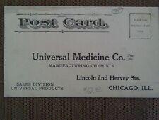 RARE 1910 POSTCARD AD UNUVERSAL MEDICINE CHEMISTS DRUGS STOMACH PAIN TEA CHICAGO