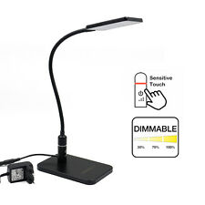 Tactile Dimmable Lampe de Bureau LED Noir Flexible Lampe de Chevet Lampe Table