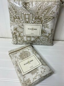 NEW Williams Sonoma Home Cotton BANDANNA Floral DUVET Cover KING + EURO taupe