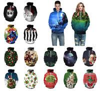 Christmas Couples 3D Graphic Print Hoodie Long Sleeve Sweatshirt Pullover Coat