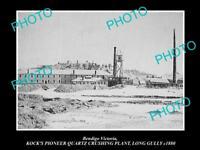 OLD LARGE HISTORIC PHOTO OF BENDIGO VICTORIA KOCKS QUARTZ CRUSHING PLANT c1880