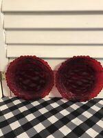 VTG Avon Cape Cod Ruby Red Glass Salad Dessert Plates (2) RARE HTF