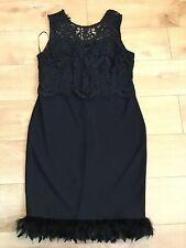 Bnwt🌹Next🌹Size 12 Black Occasion Lace Feather Hem Bodycon Dress New Prom