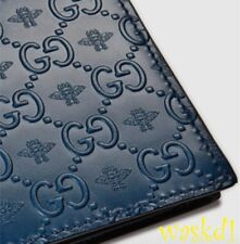 GUCCI Men blue leather Alveare BEE GUCCISSIMA GG embossed wallet NIB Authen $395