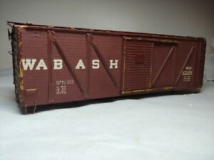 Vintage O Scale Wabash outside brace box car wooden kit built Walthers? Brass tr