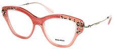 Miu Miu VMU 07O TV1-1O1 Pink / Rock Crystals New Authentic Eyeglasses 52mm - 39