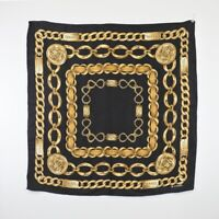CHANEL Scarf Silk Square Chain Motif CC COCO Black Gold authentic