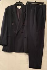 Jones New York Womens Navy 100% Silk Pant Suit Size 12