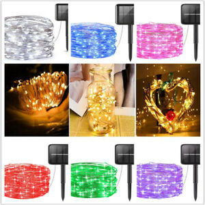 Solar LED String Copper Wire Fairy Light Night Twinkle Lamp Outdoor Garden Decor