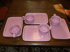 A Wonderful Vintage Set of Four  Hall  Snack Sets In Pink