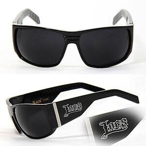 Locs Mens Cholo Biker Sunglasses - Shiny Black LC82