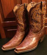 ARIAT Shada Inlay Short Western Cowboy Snip Toe 8½B Brown (6752) Duratread Sole