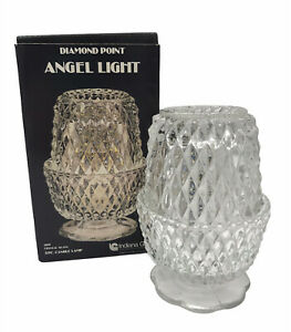 NEW with BOX Fairy Lamp CLEAR Diamond Point Indiana Glass Angel Light Vintage