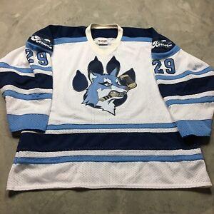 BOZEMAN MONTANA WOLFPACK VTG Hockey Jersey Icedogs XXL Sewn Juniors Minors USA