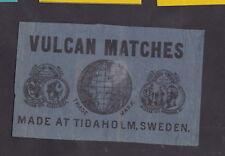 Ancienne étiquette de paquet  allumettes Suède BN27101 Vulcan Globe