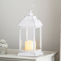Rustic White Decorative Battery Operated Indoor LED Flameless Candle Lantern