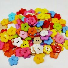 100 SMALL FLOWER Plastic Buttons 3/8